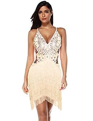 Meilun Women's Sequin Tassel Mini Dress Party Bodycon Club Night Wear Dress