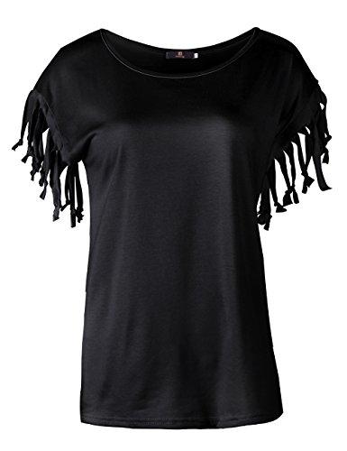 ISASSY - Camiseta - relaxed - Cuello redondo - Manga corta - para mujer negro