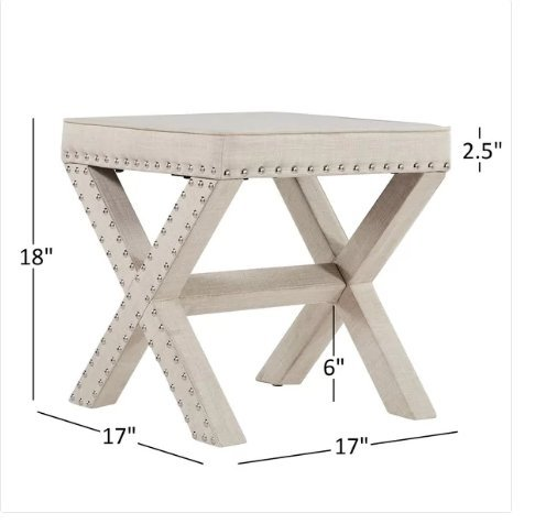 Contemporary Linen Fabric Upholstered 17 Inch Bench Ottoman Vanity Stool with X Legs and Silver Nailhead - Includes Modhaus Living Pen (Beige)