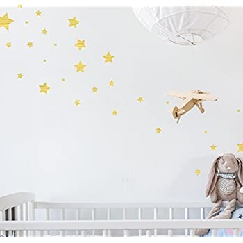 (274) Assorted Gold Star Wall Decals - Repositionable Peel and Stick Vinyl Star Wall Stickers for Nursery Kids Room Mirrors and Doors  sc 1 st  Amazon.com & 68 Star Stickers Removable Star Wall Decals Gold - - Amazon.com