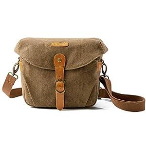 Camera Bag, BAGSMART SLR DSLR Canvas Camera Case, Vintage Padded Camera Shoulder Bag with Rain Cover for Women and Men…