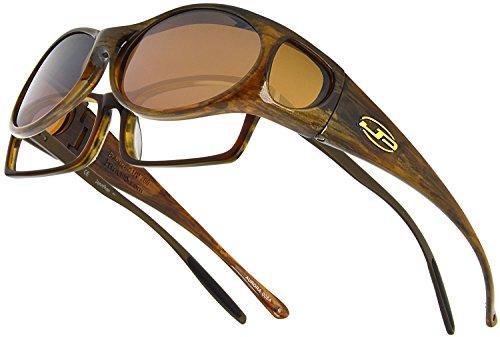 Fitovers Eyewear Aurora Sunglasses (Brown Marble, Polarvue Amber)