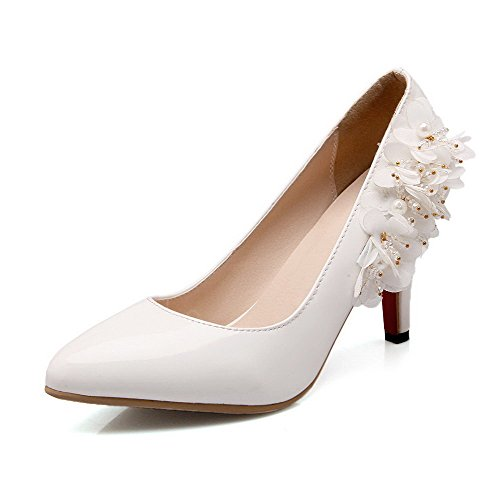 Pointed High Solid Shoes Closed Blend Pumps Women's Materials WeiPoot Heels Toe On Pull White Zg57z8x