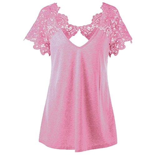 Womens T-Shirt Fashion Tops V-Neck Plus Size Lace Short Sleeve Trim Cutwork Pink