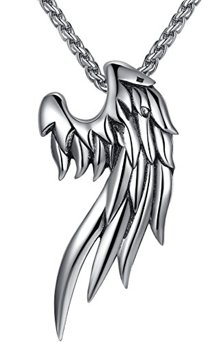 Men's Stainless Steel Angel Wing Pendant Necklace, Unisex, 24
