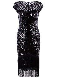 Vintage Black Sequin Fringe Cocktail Dress