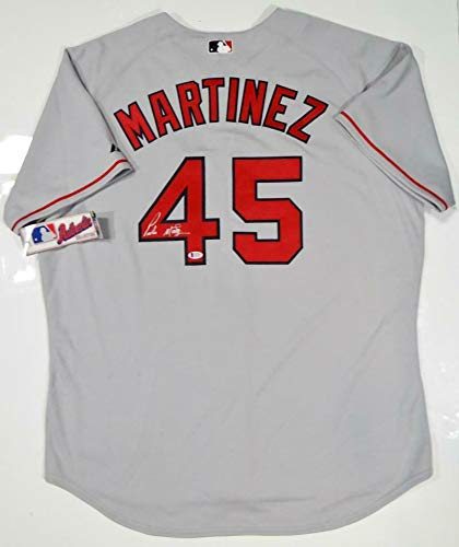 Pedro Martinez Signed Jersey - Grey Majestic Beckett Auth *4 - Beckett Authentication - Autographed MLB Jerseys