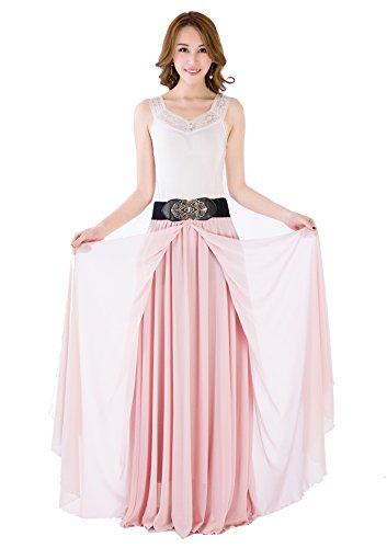Sissily Women Summer Bow Tie Chiffon High Waist Pleated Big Hem Mopping Floor Length Beach Maxi Skirt with Belt(XX-Large/Nude Pink)