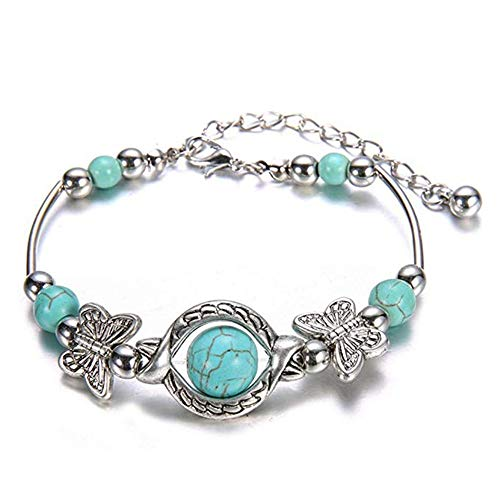 Natural Turquoise Carved Butterfly Pendant Bohemian Women's Bracelet ()