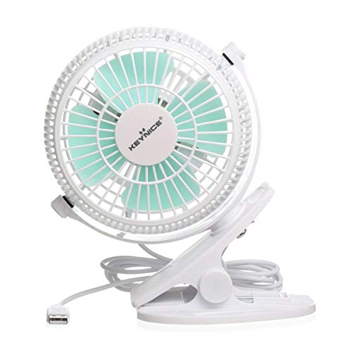 KEYNICE USB Clip Desk Personal Fan, Table Fans, Clip on Fan, 2 in 1 Applications, Strong Wind, Mini Desk Fan, Small Desktop Fan, 4 Inch 2 Speed Portable Cooling Fan USB Powered by Net Book, PC- White