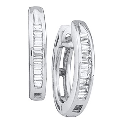 14kt White Gold Womens Baguette Diamond Huggie Earrings 1/6 Cttw (I3 clarity; J-K - Diamond Hoop Gold Baguette 14k