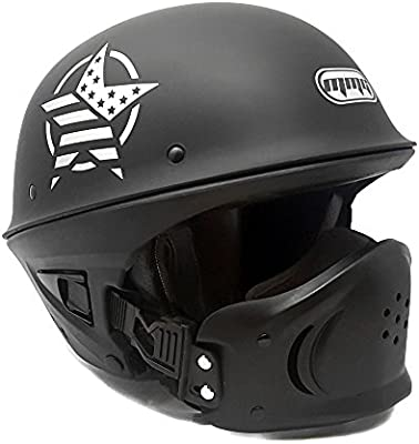 Medium MMG 205 Motorcycle Half Helmet Cruiser DOT Street Legal White Includes Smoked Riding Goggles