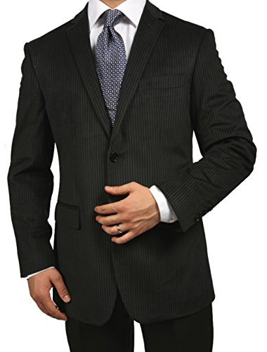 (Ferrecci 38R Mens Sinatra Black Pinstripe Slim Fit Velvet Blazer)