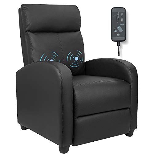 Furniwell Recliner Chair Massage Home Theater Seating Wing Back PU Leather Modern Single Living Room Reclining Sofa with Footrest (Black)