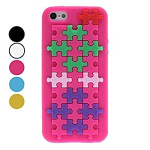 LX 3D Style Puzzle Pattern Soft Case for iPhone 5/5S Cover Cases Color White