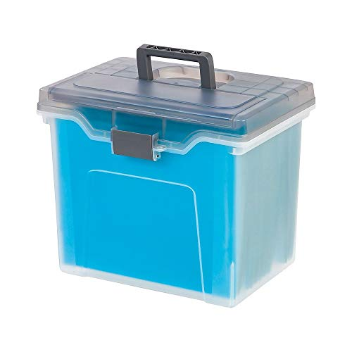 Staples Portable File Box, Letter Sized, Clear w/ Gray Lid (110991) (Size File Box Portable Letter)
