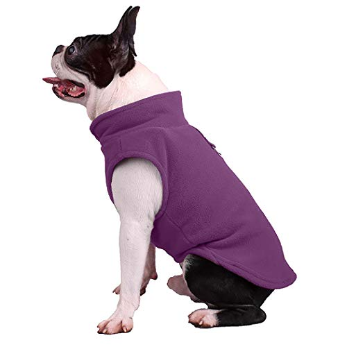 Puppy Fleece Pullover - Petea Dog Cat Fleece Vest Autumn Winter Cold Weather Dog Vest Harness Clothes with Pocket Pet Puppy Pullover Fleece Jacket with Leash Ring for Dogs and Cats (S, Purple)