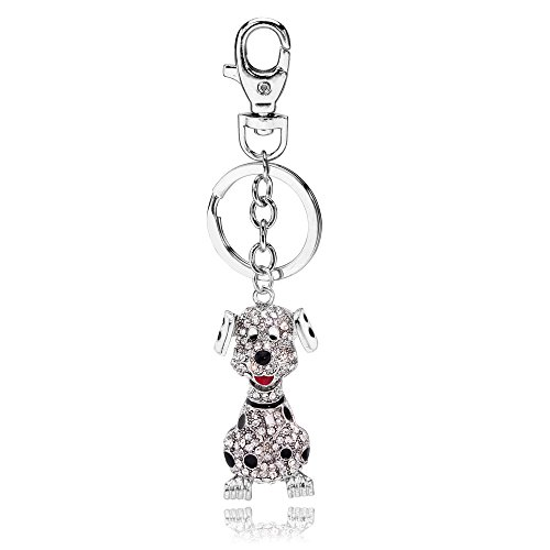(Liavy's Dalmatian Puppy Dog Charm Fashionable Keychain - Sparkling Crystal - Unique Gift and Souvenir)