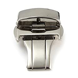 Watch Clasp - Sodial(r) Deployment Butterfly Clasp Watch Buckle Stainless Steel Leather Strap Band£¨20mm Silver£