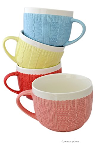 Set 4 Assorted Color Knit Sweater Coffee Latte Large Mugs 13oz Bowls with Handle
