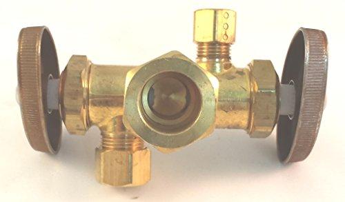 Brass Craft CR1900DV R 1/2-Inch Nom Comp by 3/8-Inch O.D. Comp by 1/4-Inch O.D. Comp Brass Craft CR1900DV R Dual Outlet Stop, Rough Brass