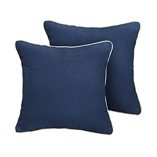Mozaic Company AMPS111183 Indoor Outdoor Sunbrella Square Pillow with Corded Edges, Set of 2, 20 x 20, Canvas Navy Blue Canvas Natural Ivory