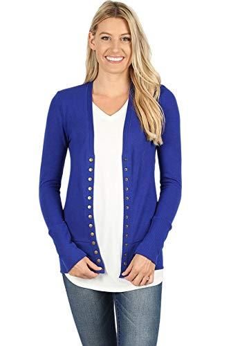 (Cardigans for Women Long Sleeve Knit Press-Stud Button Sweater Regular & Plus - Denim Blue (Size M))