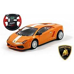 Lamborghini Gallardo LP 560-4 SV Mini Licensed RC Car - 1/43 Scale - Orange w/White Stripes