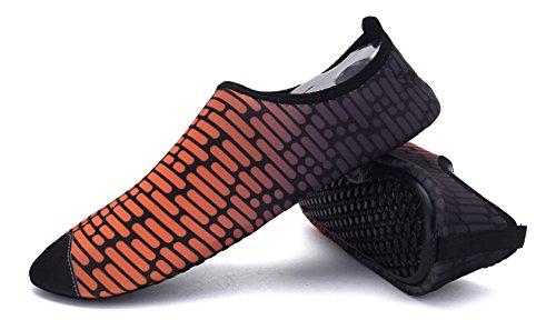 Demetory Unisex Quick-Dry Water Shoes Lightweight Aqua Socks For Swim, Walking, Yoga, Beach, Water Park Orange/Black