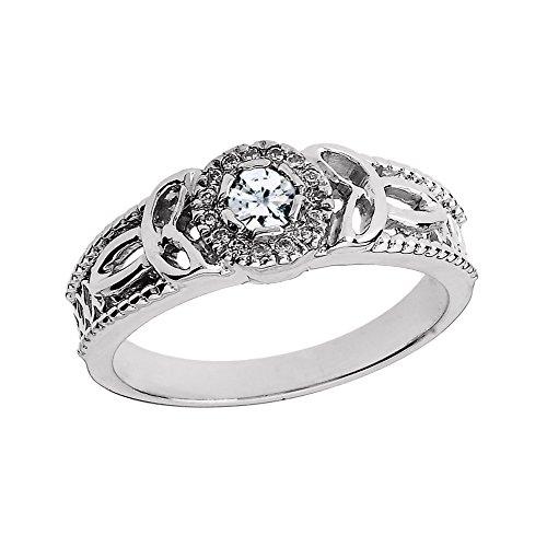 10k White Gold Diamond Ladies Trinity Knot Proposal Ring (Size - Trinity Diamond Knot Ring