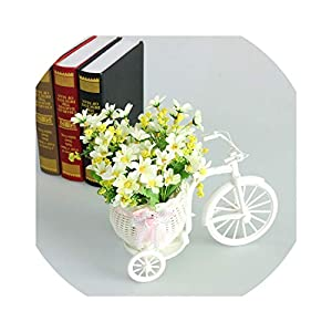Artificial Flowers Artificial Flower Set Rattan Vase Simulated Flower Plastic Bicycle Flower Set Bouquets for Wedding Indoor Household Decor,G 28