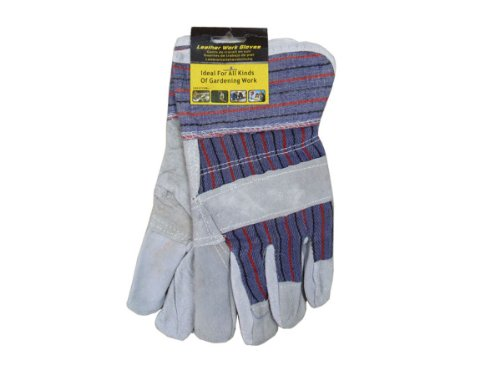 MULTI-PURPOSE WORK GLOVES cotton leather Work Gloves Hardware (Qty 12) from bulk buys