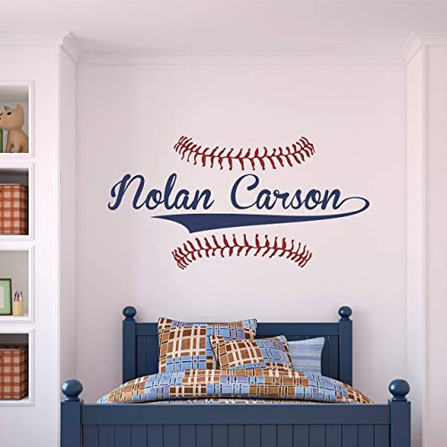 Custom Name Baseball Wall Decal - Boys Personalized Name Baseball Wall Sticker - Custom Name Sign - Custom Name Stencil Monogram - Boys Room Wall Decor ...