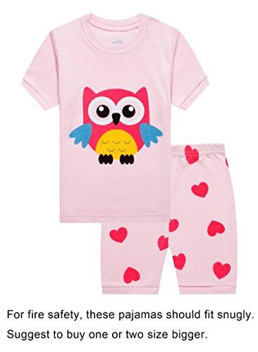 Cotton Pink Short - Barara King Big Girls Owl Snug-Fit Pajamas Shorts 100% Cotton Pink Pjs Clothes Infant Kid 8
