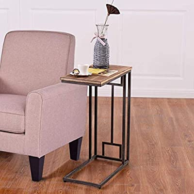 Tangkula Coffee Tray Sofa Side End Table Ottoman Couch Console Stand TV Lap Snack Black (1)