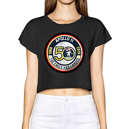 YONG-SHOP 50th Anniversary Apollo 11 Moon Women's Loose T Shirt Leakage Umbilical Short T-Shirt