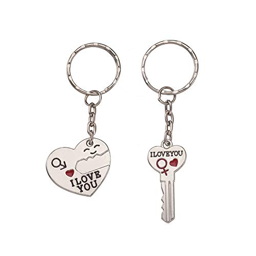 Craftdady 2pcs Alloy Enamel Split Pendant Key Chain Iron Platinum Rhinestone Love Heart with Key Rings for DIY Key Chain Decoration Accessory