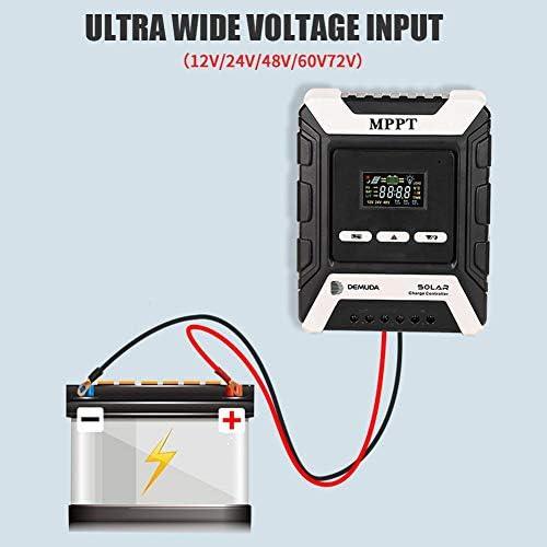learnarmy Solar-Laderegler, 12 V/24 V/48 V, Solarmodul-Controller mit LCD-Display, MPPT-Laderegler 10A