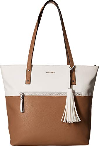 Nine West Womens California Casual Tote White/Dark Wheat One Size (Nine West Handbags)
