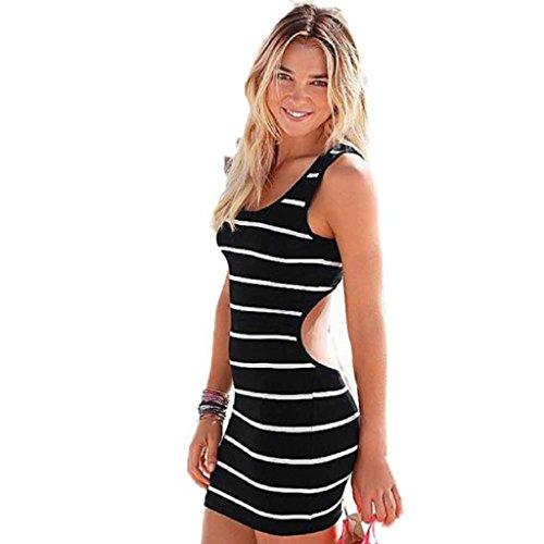 Laimeng Women Sexy Backless Mini Dress Fashion Sleeveless Stripe Dress