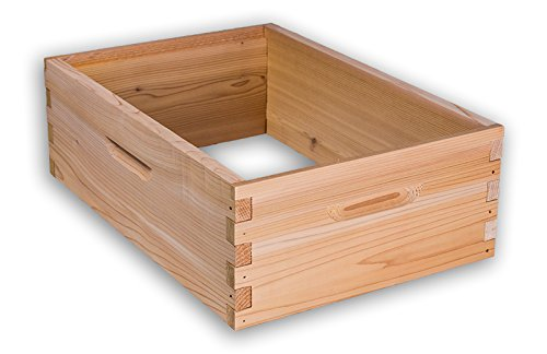8 Frame Medium Hive Box Premium Cedar Wood for Langstroth Beekeeping Made in USA, 14 x 19 x 6 Inches Cedar Frame