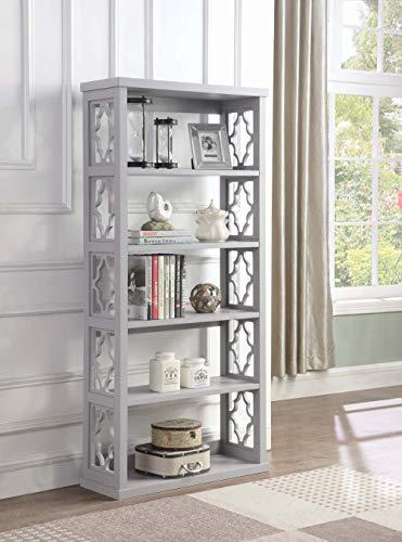 - Coaster Home Furnishings Trellis Pattern Side Panels Bookcase Grey Rectangular/Grey/Traditional