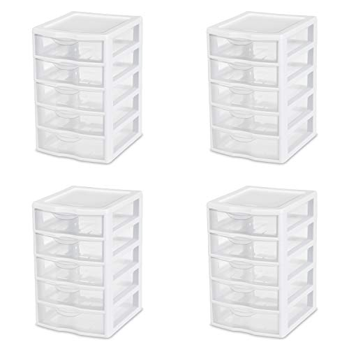 (Sterilite 20758004 Small 5 Drawer Unit, White Frame with Clear Drawers, 4-Pack)