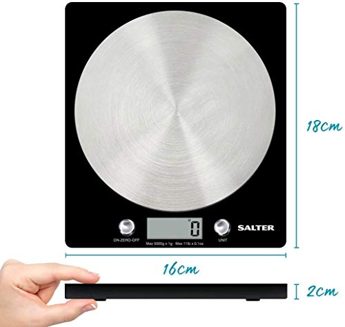 Salter Digital Kitchen Weighing Scales – As Seen on TV, Stylish Slim Design Electronic Cooking Scale for Home + Kitchen, Weigh Food 5000g + Liquids in ml and fl. Oz. – Black