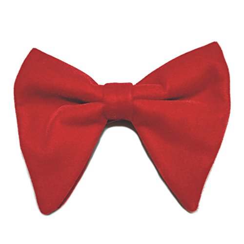 Mens Oversized Bow Tie Tuxedo Red Velvet Bowtie Cufflinks Hankie Combo Set - Oversized Red Bow