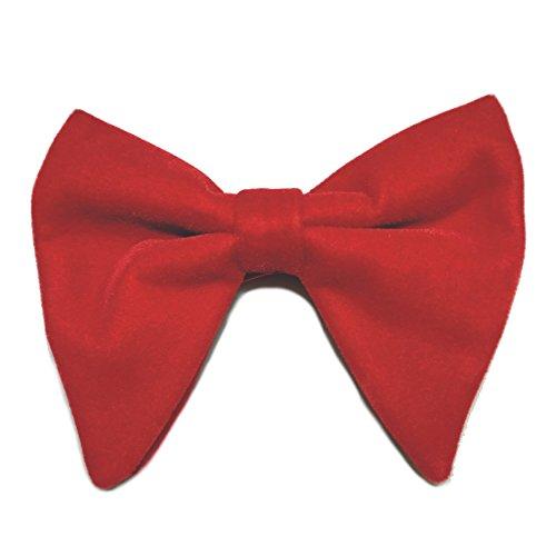 Mens Oversized Bow Tie Tuxedo Red Velvet Bowtie Cufflinks Hankie Combo Set - Red Bow Oversized