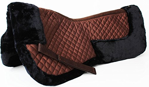 CHALLENGER Horse English Quilted Saddle Half Pad Correction Wither Relief Fur Black 12216BK