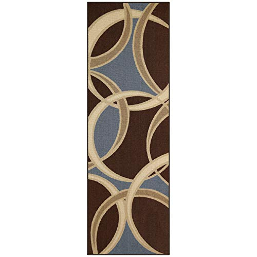 - Maples Rugs Runner Rug - Circle 2 x 6 Non Skid Hallway Entry Rugs Runners [Made in USA] for Kitchen and Entryway, Coffee Brown/Blue