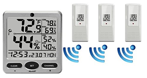 Ambient Weather WS-08-X3 Wireless Indoor/Outdoor 8-Channel Thermo-Hygrometer with Daily Min/Max Display with Three Remote Sensors