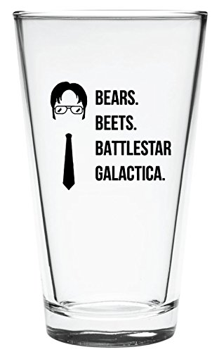 The Office Funny Beer Glass | Merchandise Mug''Bears Beats Battlestar Galactica'' | Dwight Schrute Quote Craft Beer Glasses by Vivid Ventures